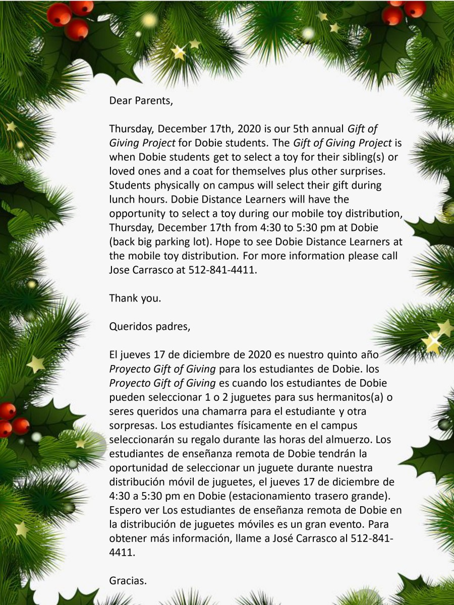 Gift of Giving Flyer English and Spanish